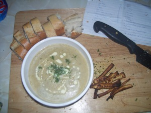 Celeriac and Dill Soup with Parsnip Chips
